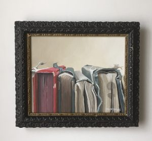 """Book Spines. Acrylic on Canvas. 12.5""""x10.5"""" (with frame). $395"""