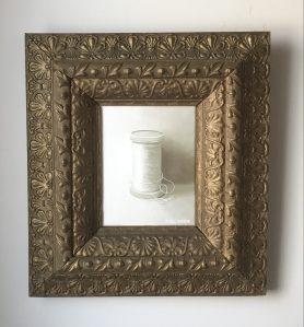 """Spool of Thread. Acrylic on Canvas. 19""""x21"""" (with frame). $425"""