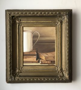 "Coffee Mug and Books. Acrylic on Canvas. 16""x18"" (with frame). $425"
