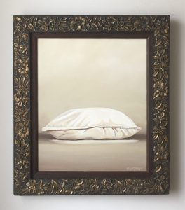 "One Pillow. Acrylic on Canvas. 14""x27"" (with frame) $895"