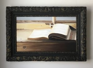 "Open Book. Acrylic on Canvas. 17.5""x25.5"" (with frame) $895"