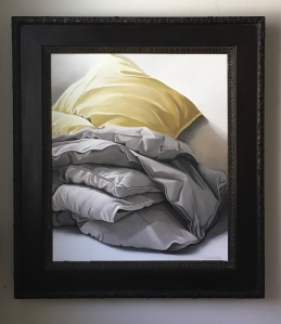 "Pillow and Blanket. Acrylic on Canvas. 32""x36"" (with frame) $1800"