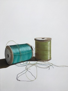 "Two Spools of Thread. Acrylic on canvas. 36"" x 48"". $2900.00"