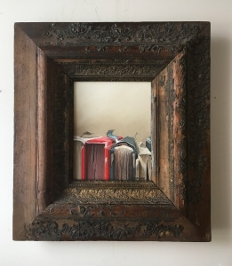 "Row of Books 18""x20"" with frame $425"