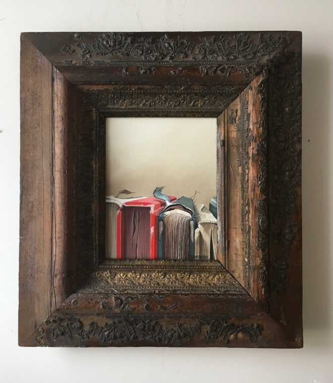 """Row of Books 18""""x20"""" with frame $425"""