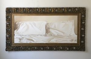 "Photo of painting, 'Bed with Pillows'. 49""x28"" with frame. $2900"