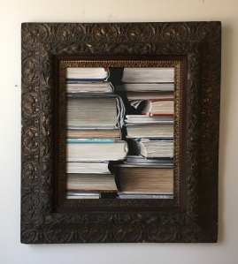 "Photo of the painting 'Books'. 25""x28"" with frame. $925"