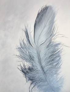 "Blue Feather 36"" x 48"" Sold"