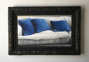 "Blue Pillows 25.5"" x 17"" with frame. SOLD"