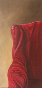 """Red Chair. 6"""" x 12"""". $210"""