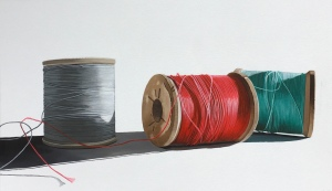 "Three Spools of Thread. 22"" x 40"" SOLD"