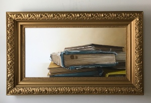 """Books. 36.5"""" x 22"""" with frame. $1200"""