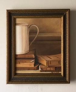 """Mug and Books. 11"""" x 13"""" with frame. $395"""