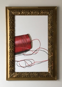 "Red Spool of Thread. 18"" x 26"" with frame. $895"