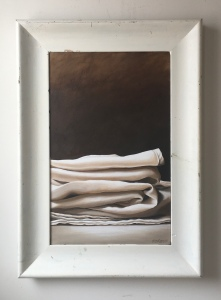 """Linen Pile. 25""""x35.5"""" with frame. $1200"""