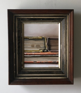 """Three Books. 13"""" x 15"""" with frame. $425"""
