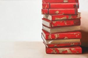 """Red Books. 36""""x24"""". $2500.00"""