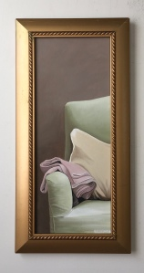 """Chair with Pillow and Blanket 11.5"""" x 23.5"""" with frame. $575."""