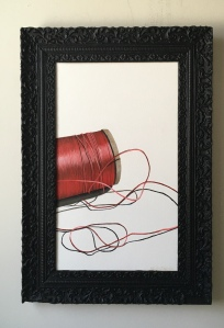 """Red Spool of Thread. 17.5"""" x 25.5"""" with frame. $895."""