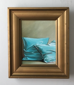 """Turquoise Pillows. 12.75"""" x 14.75"""" with frame. $425."""